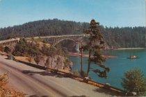 Image of Tug & log boom under Deception Pass Bridge