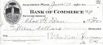Image of Bank of Commerce canceled check to CH Baer