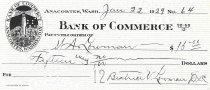Image of Bank of Commerce canceled check to Wm. A. Lowman