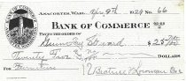 Image of Bank of Commerce canceled check #66