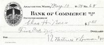 Image of Bank of Commerce canceled check # 68