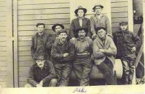 Image of Work crew including Theodore Haroldson, pile driver