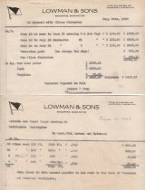 Image of Receipts Lowman & Sons