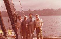Image of Four crewmen aboard the W.T. Preston, Oct. 1981.