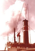 Image of 2007.010.014 - Steaming smokestack of W.T. Preston, Oct. 1981.