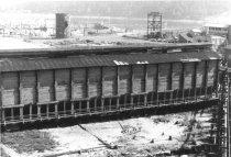 Image of Shed with sawdust burner half demolished 1968 (.121)