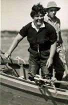 Image of Betty A. Lowman working on reef net boat