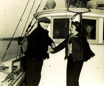 Image of Capt. Tom Sandvik and Betty Lowman leaving Juneau to fish for halibut.