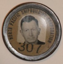 Image of Charlie Dibble's badge for No. Pacific Shipbuilding Corp.