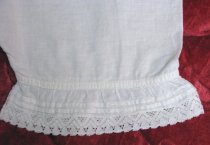 Image of Lace on legs of Christening bloomers