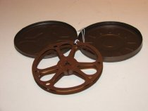 Image of 8mm empty movie reel and can