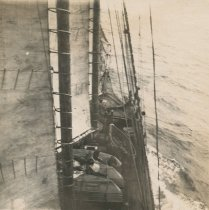 Image of Deck of unknown vessel under sail
