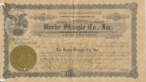 Image of Stock Certificate - Burke Shingle Mill