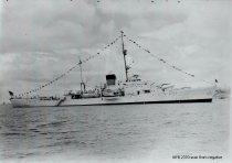 Image of Cruiser (?) in Guemes Channel