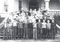 Image of boys on steps of Columbian Junior High