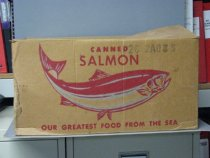 Image of Box for cans of salmon from cannery