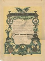 Image of Certificate of Affliation, Federation of Musicians, 1907