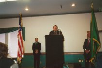 Image of 2012.102.042.003 - Wallie Funk speaks - Bud Strom receives Liberty Bell Award, 2001