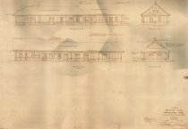 Image of Depot blueprint rear and track side elevations