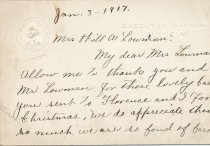 Image of 1917 letter to Mrs. Will A. Lowman (Beatrice Victoria Baer, 1870-1938, from