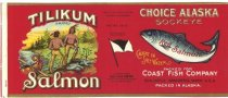 Image of Copy of Salmon Label - Tilikum Brand Choice Alaska Sockeye Red Salmon, 1896