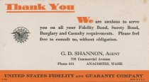 Image of U. S. Fidelity and Guaranty Co. card