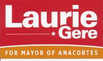 Image of lapel sticker for Laurie Gere
