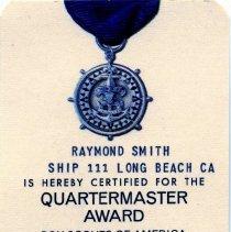 Image of Quartermaster Award card