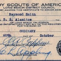 Image of Ordinary Sea Scout certificate
