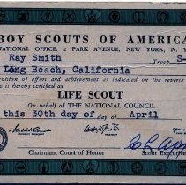 Image of Life Scout certificate