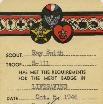 Image of LIfesaving certificate for merit badge
