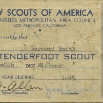 Image of Tenderfoot Scout certificate