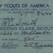 Image of Second Class Scout certificate