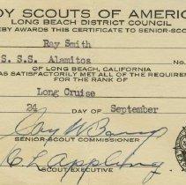 Image of Long Cruise rank certificate