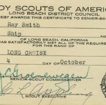 Image of Long Cruise certificate