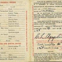 Image of Membership card, Boy Scouts, inside