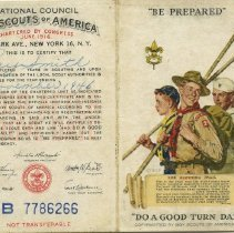 Image of Boy Scouts membership card, outside