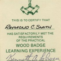 Image of Wood Badge Learning Experience card