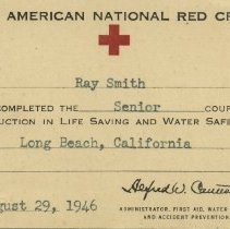 Image of Red Cross Senior Life Safey certificate
