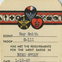Image of Boy Scout Bird Study badge certificate