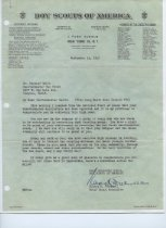 Image of Boys Scouts letter re: Quartermaster rank
