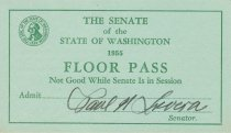 Image of 1955 Washington Senate floor pass