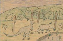 Image of dinosaur artwork by Phyllis Luvera Ennes