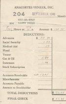 Image of Anacortes Veneer paystub, 9/1940