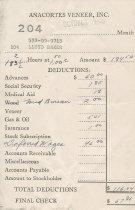 Image of Anacortes Veneer paystub, 10/1940