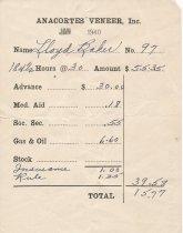 Image of Anacortes Veneer paystub, 1/1940
