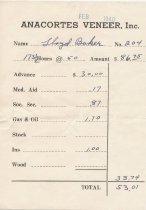 Image of Anacortes Veneer paystub, 2/1940