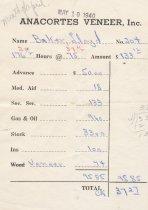 Image of Anacortes Veneer paystub, 4/1940