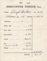 Image of Anacortes Veneer paystub, 3/1940