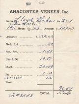 Image of Anacortes Veneer paystub,  5/1940